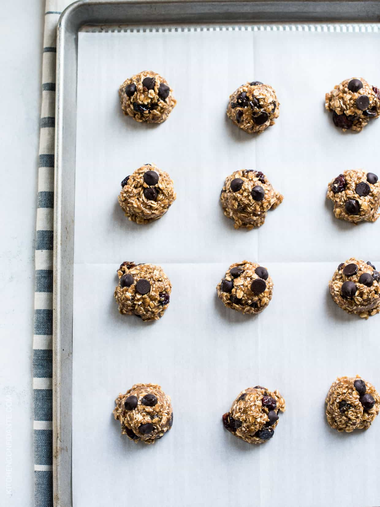 Almond Butter Oatmeal Cookie Dough on a baking sheet.