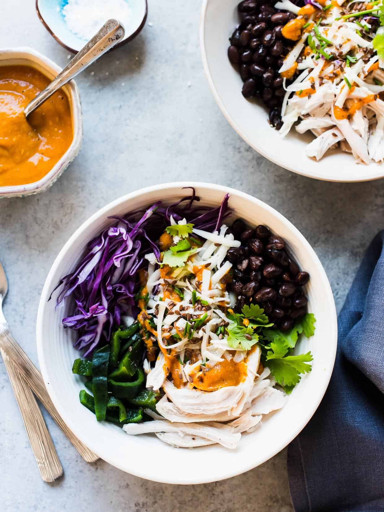 Chicken, Black Bean and Charred Poblano Salad with Pumpkin-Red Curry Vinaigrette