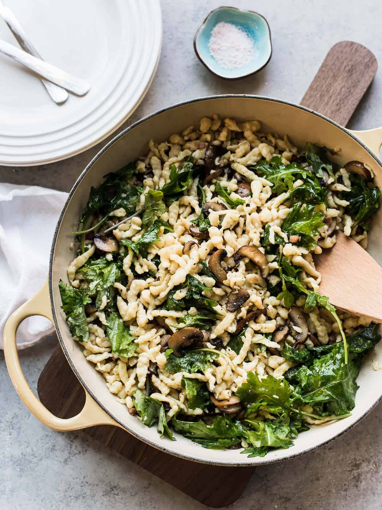 Spaetzle with Garlic Butter Mushrooms and Baby Kale