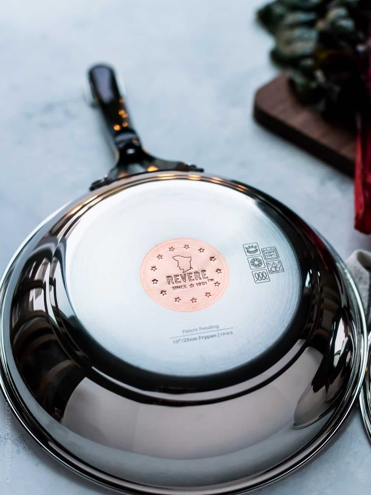 Revere Cookware with copper disk for quick heating.