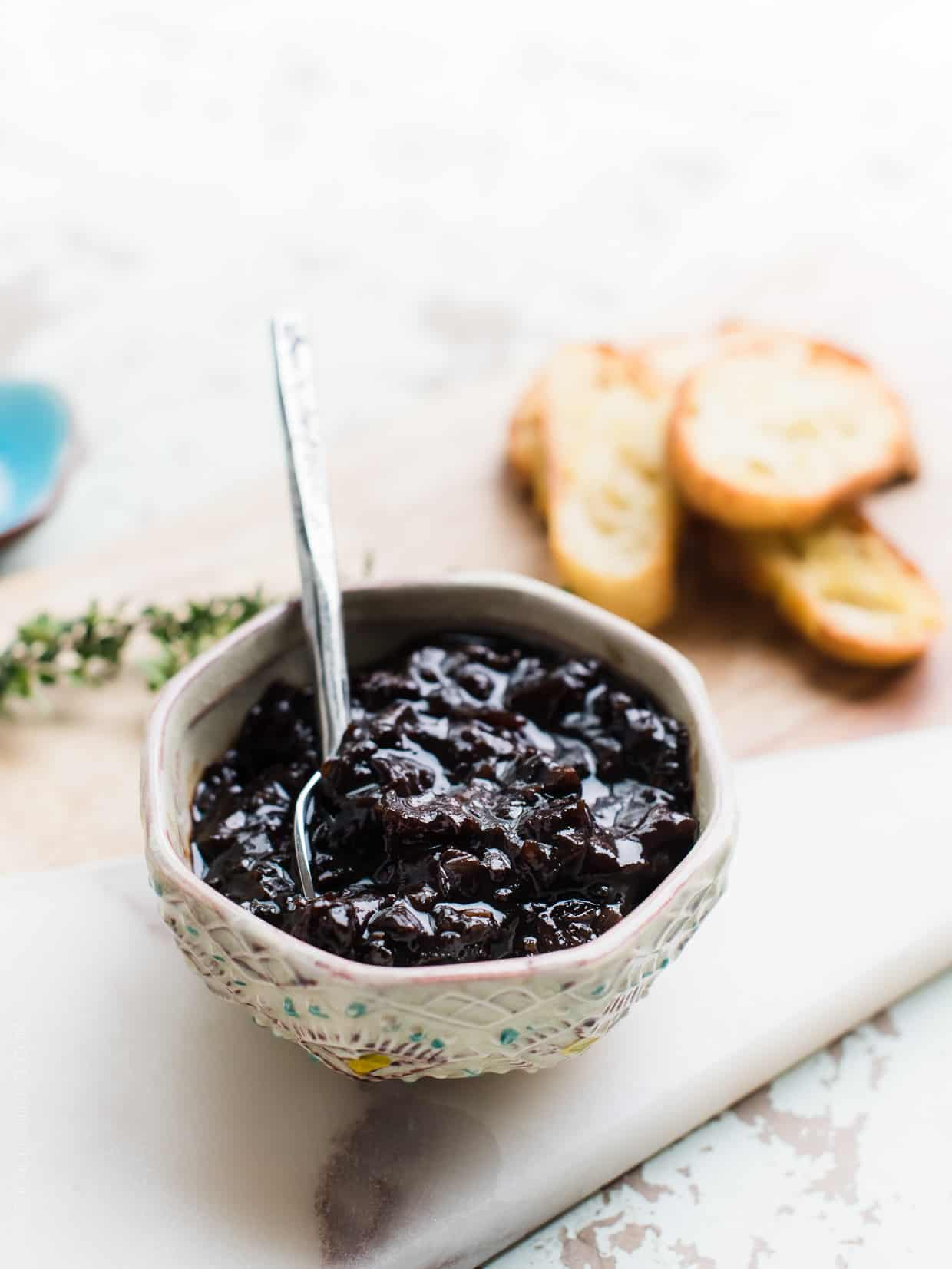 Bowl of prunes ready to be used to make Crostini with Gorgonzola and Prune Chutney.