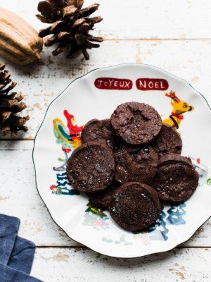 Chocolate World Peace Cookies on a Christmas plate.