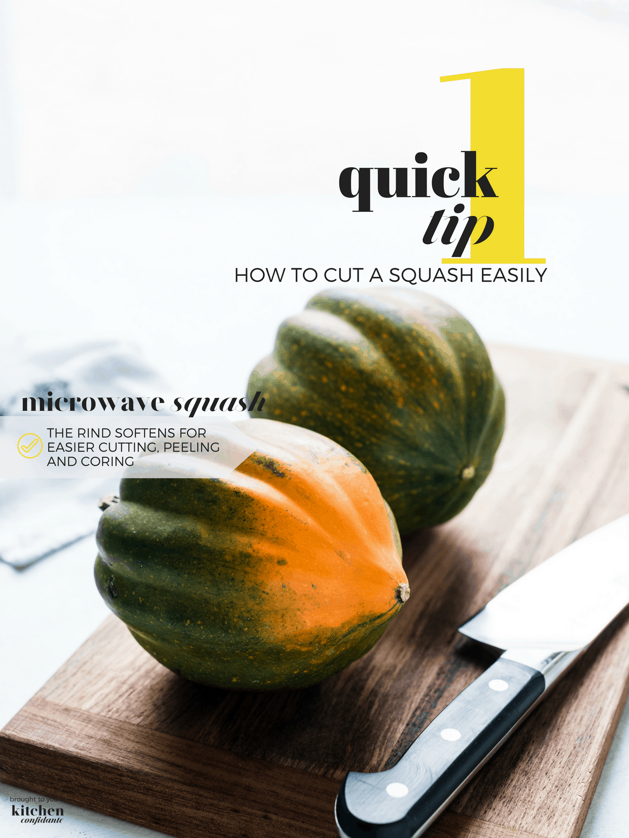 Two acorn squash on a wooden cutting board with a chef's knife.