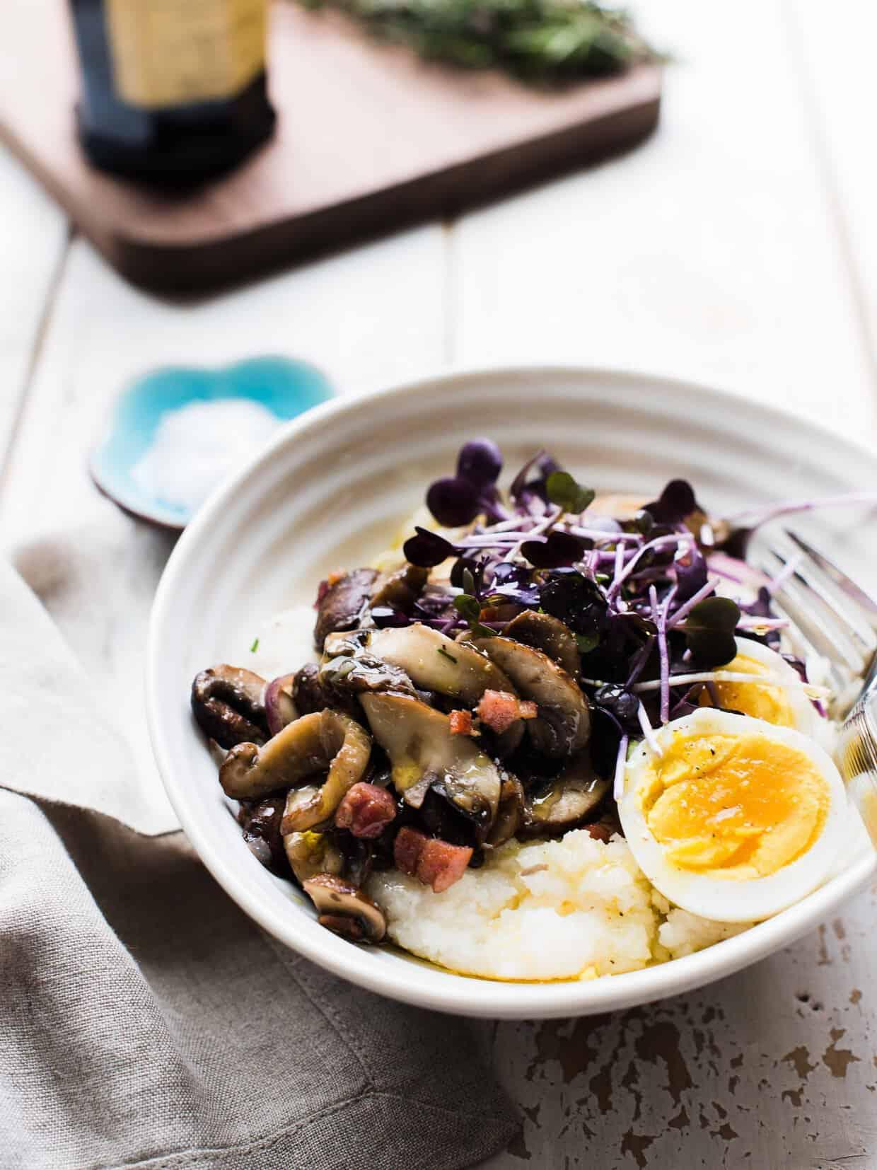 Mushroom Polenta Breakfast Bowl