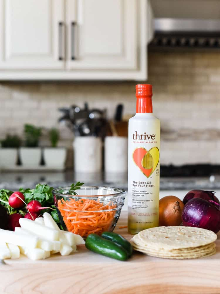 Thrive oil used to make Chipotle Chicken Tacos.
