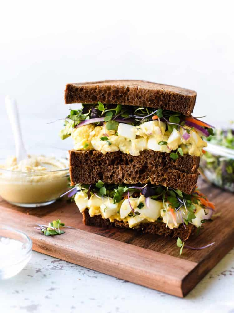 Egg salad gets a healthy update -- add extra protein and lessen the fat in this mayo-free recipe for Hummus and Tahini Egg Salad!
