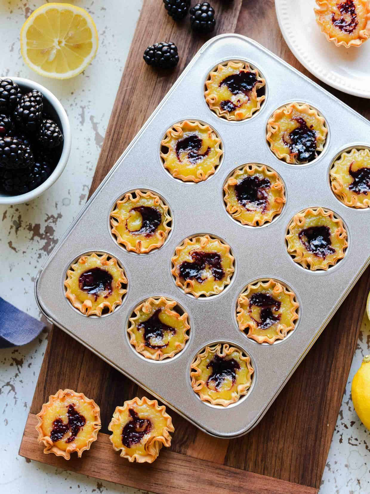 Lemon-Blackberry Chess Pie Bites