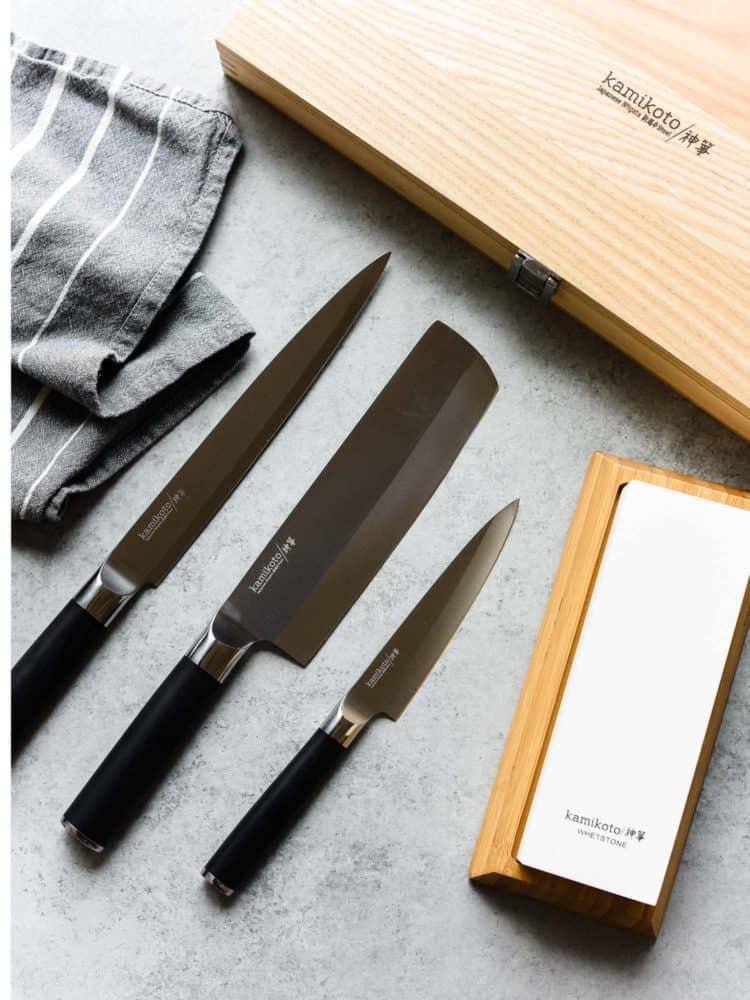 Kamikoto knives and sharpening stone.