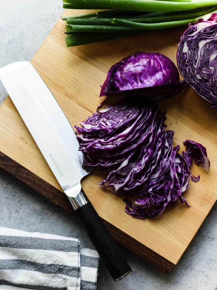 Slicing red cabbage with a Kamikoto knife.
