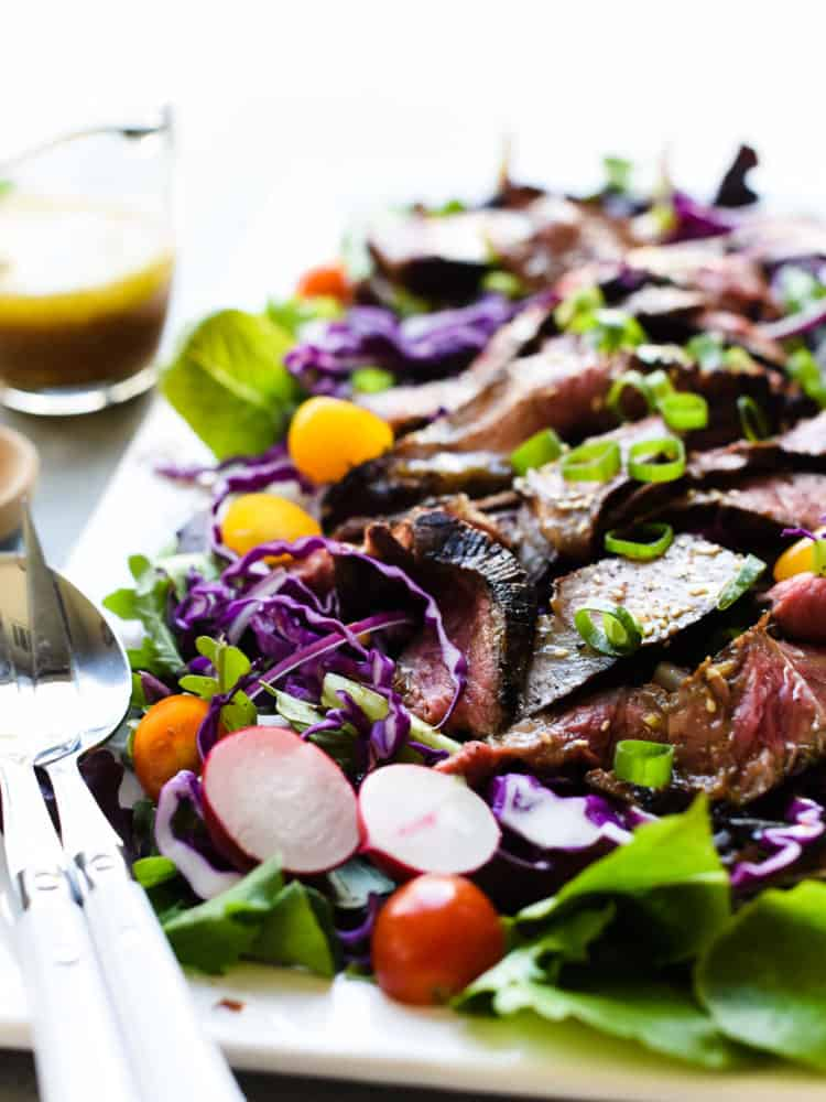 Miso-Marinated Steak Salad with a Miso-Ginger Dressing