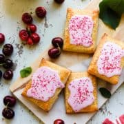 Forget store bought! Homemade cherry pop tarts are easy hand pies with a buttery, flakey crust and filled with a quick homemade jam from summer cherries.