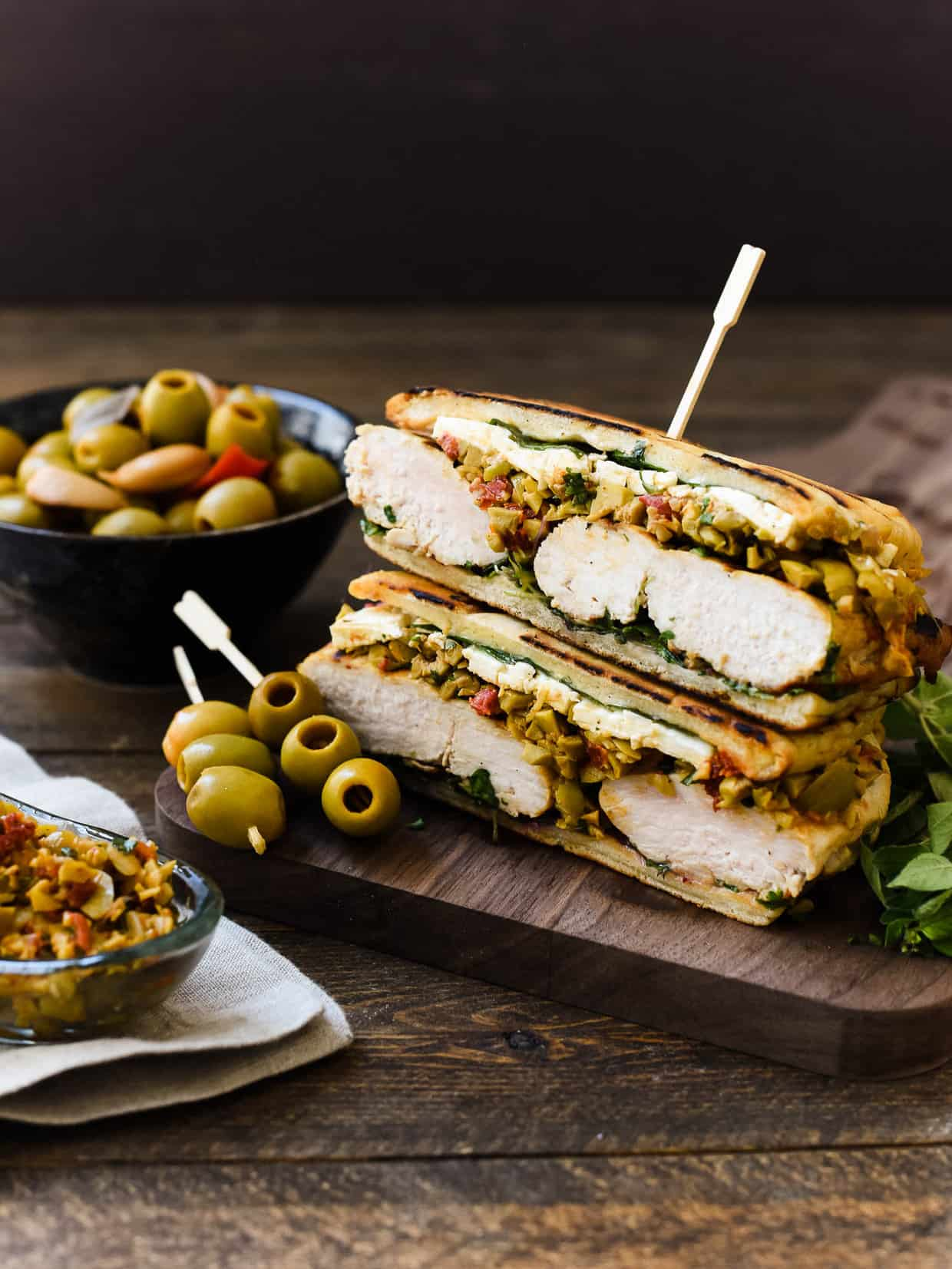 Olive-brined Chicken Sandwich with Olive Tapenade