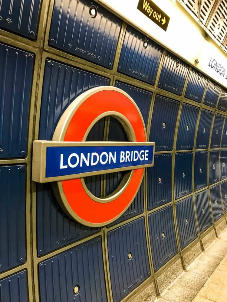 Sign for London Bridge Tube station in London.