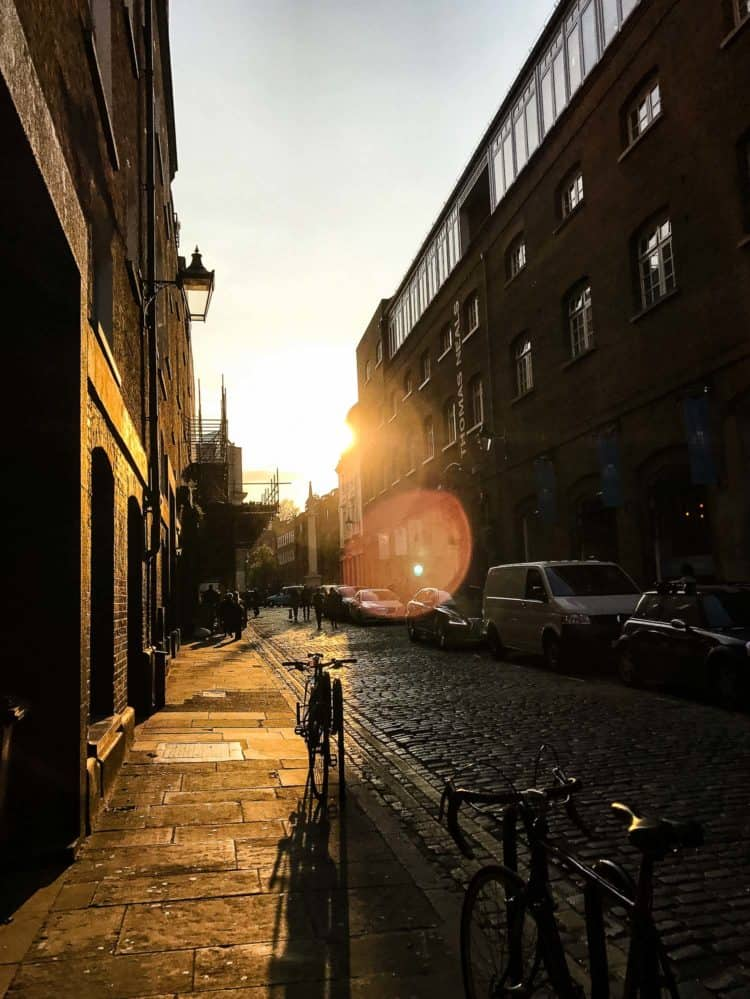 Sunset in SoHo London. Find out more in my Family Travel Guide.
