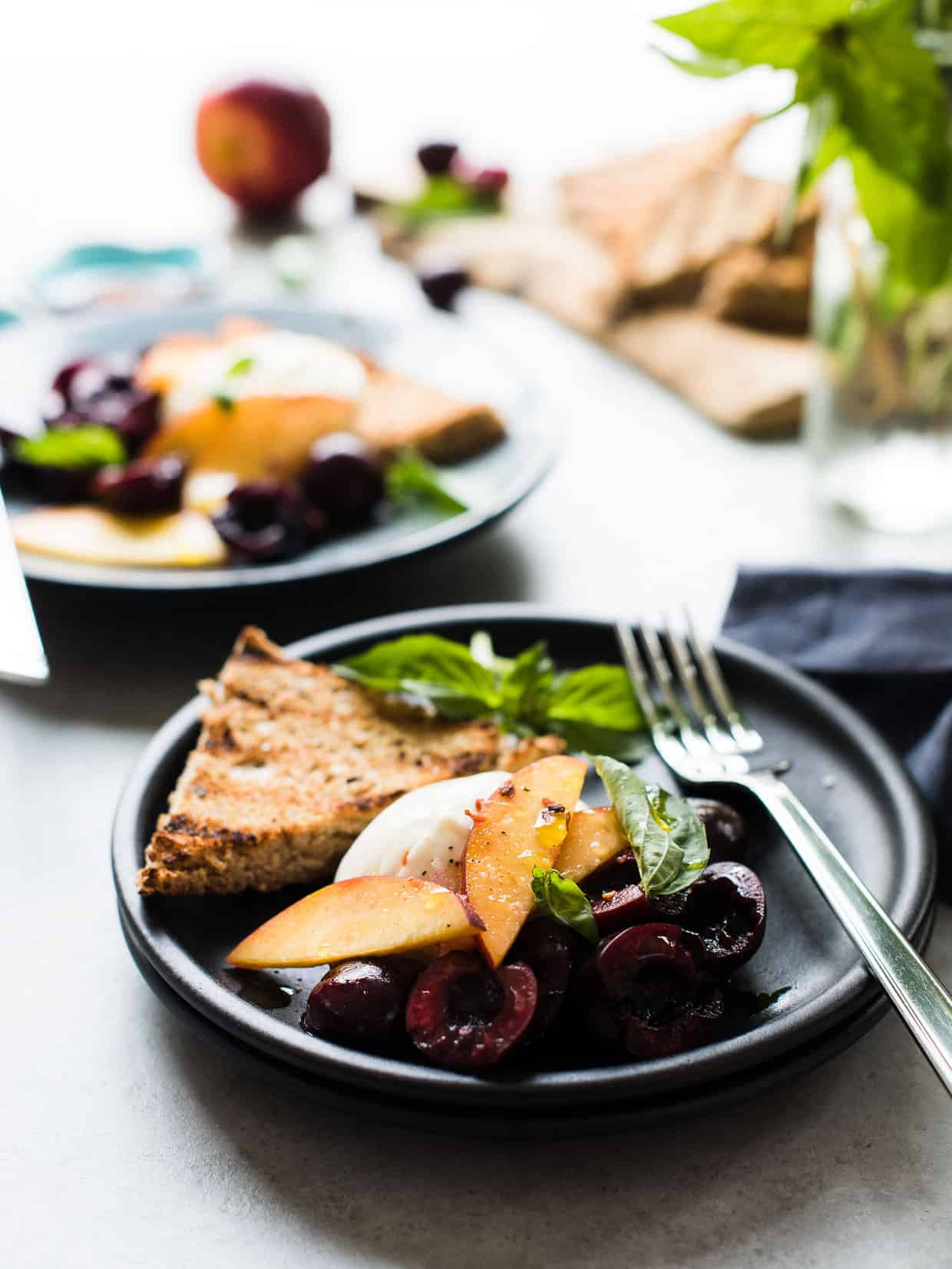Looking for the perfect summer appetizer or a meal when it's too hot to cook? Burrata with Stone Fruit like cherries and nectarines, drizzled in a balsamic dressing is just the thing!
