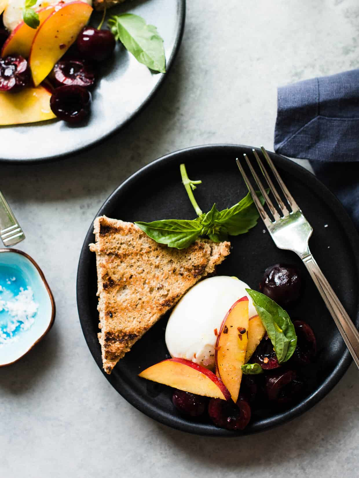 Burrata with Stone Fruit is a perfect appetizer -- or make it a meal for when it's too hot to cook!