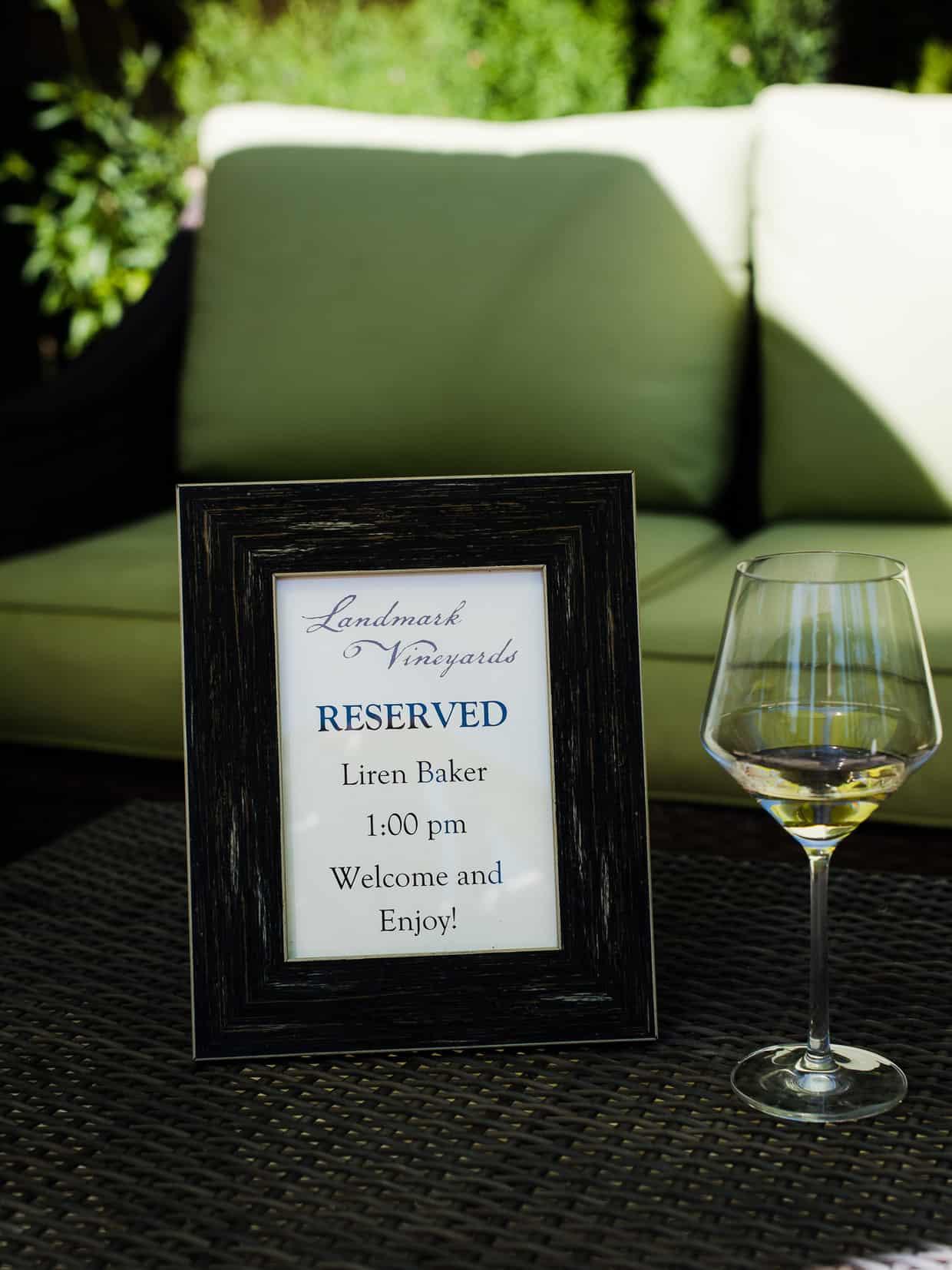 Reserved seating at Landmark Vineyards.