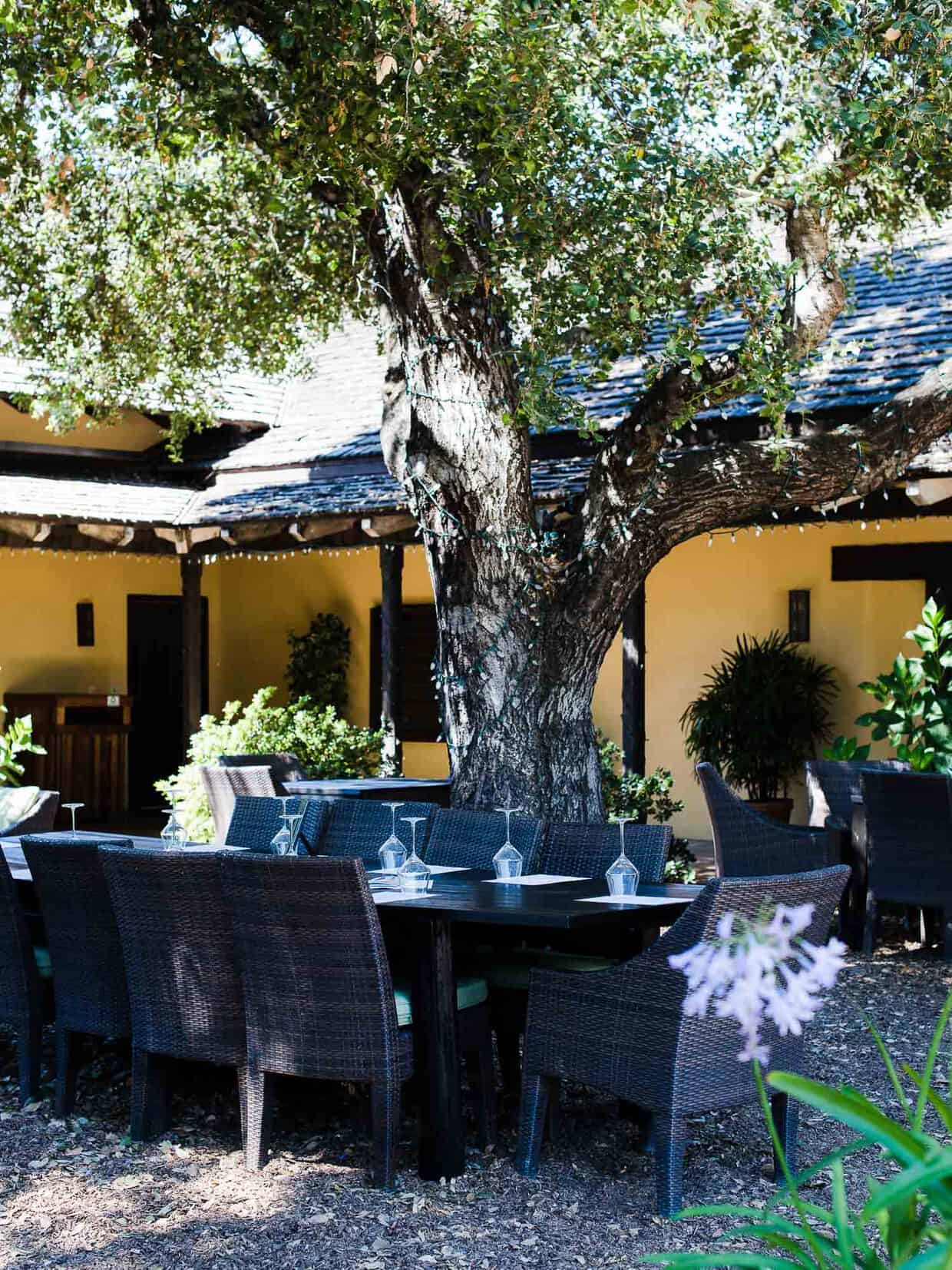 The courtyard at Landmark Vineyards offer a cozy place to spend the afternoon for tasting.