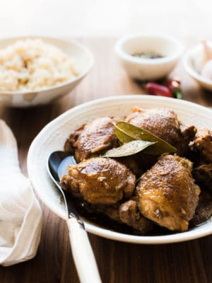 Close up view of homemade Filipino Chicken Adobo