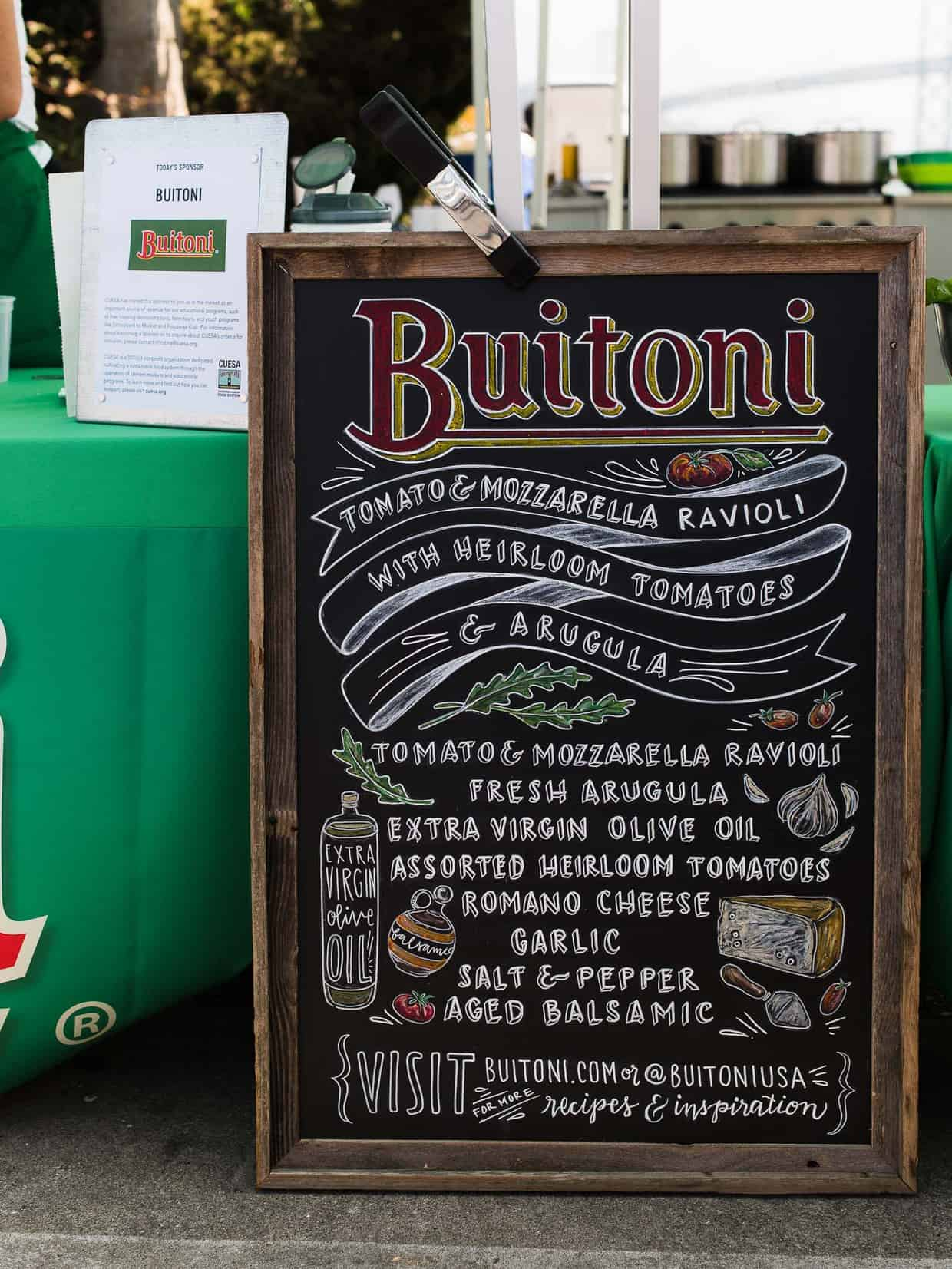 Ingredients for Buitoni recipe demo at Ferry Building Farmer's Market in San Francisco. #ad