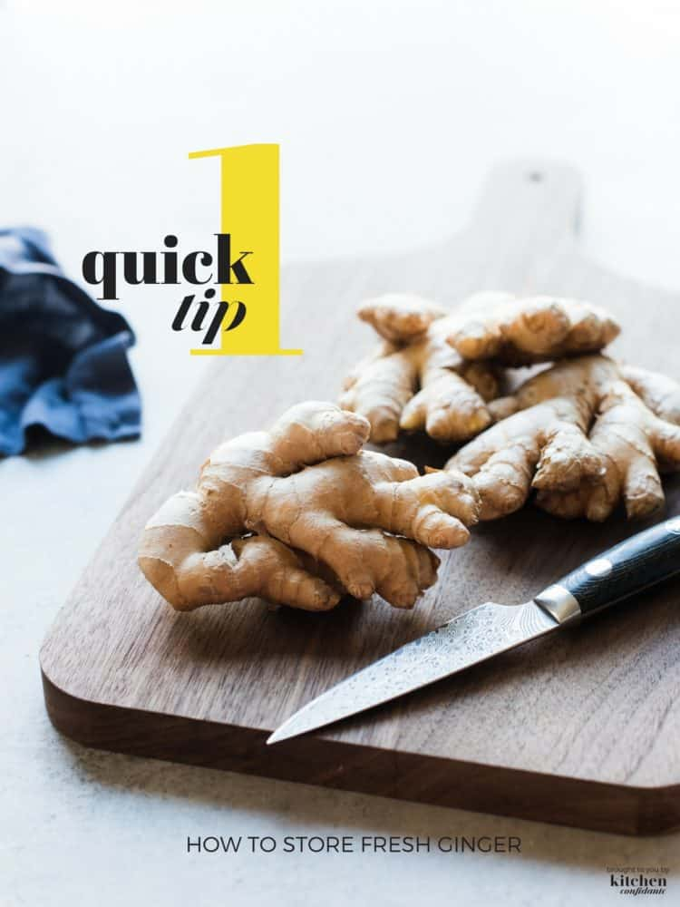 Fresh ginger on a cutting board.