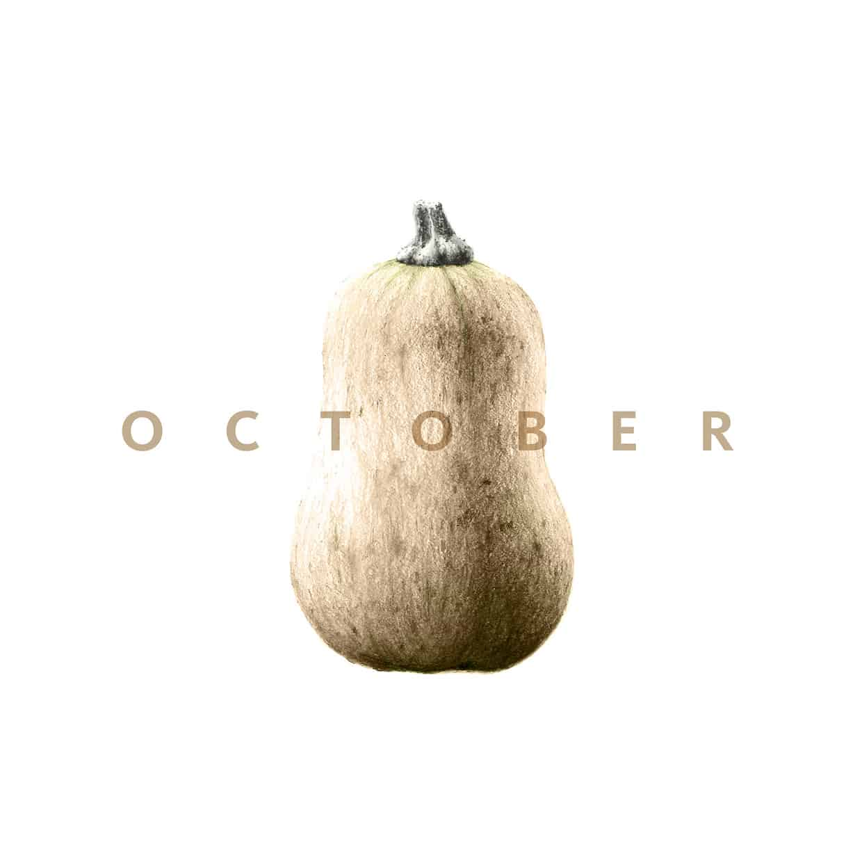 "Butternut squash with word ""October""."