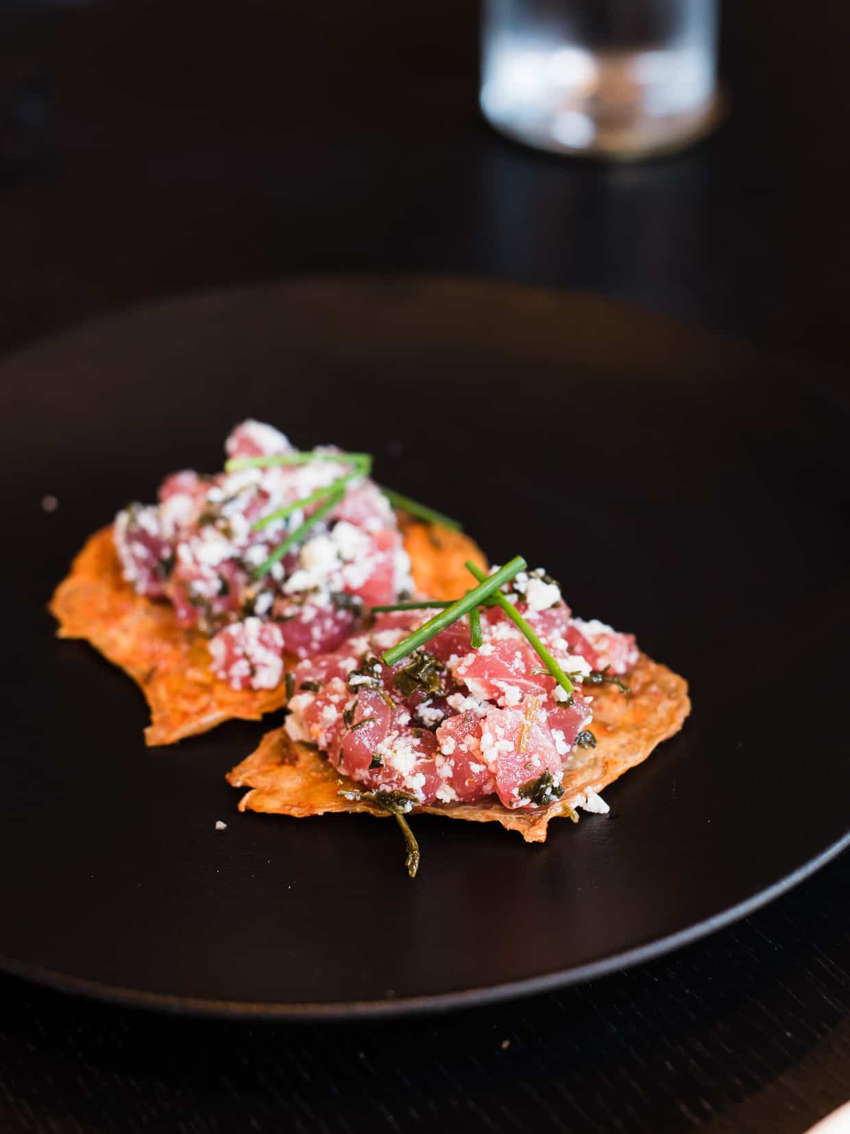 Tuna Tartare on Chicken Skin at Villon San Francisco