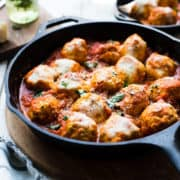 """#ad Chicken Parmesan Meatballs takes your classic comfort food and gives it a wholesome, low-carb update and is just one of many delicious recipes from the new """"Atkins: Eat Right, Not Less"""" guidebook for living a #lowcarb and low-sugar lifestyle. #AtkinsInfluencer #lchf #Atkins #EatRightNotLess #TodaysAtkins"""