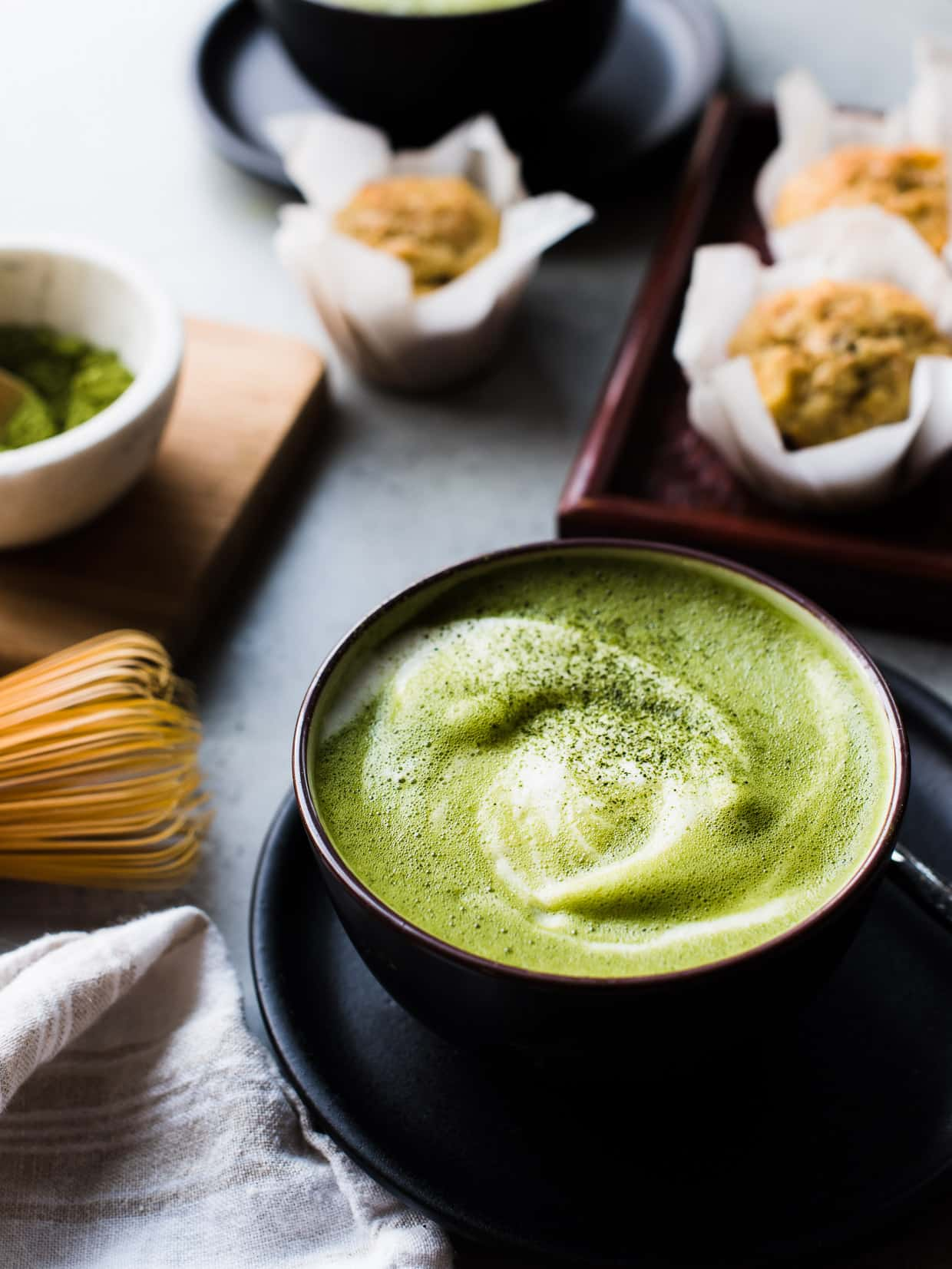 When you need a warm mug of cozy, make a matcha green tea latte. This latte is made dairy-free with almond milk and sweetened lightly with maple syrup. #matcha #greentea #tea #latte #recipe #vegetarian #vegan