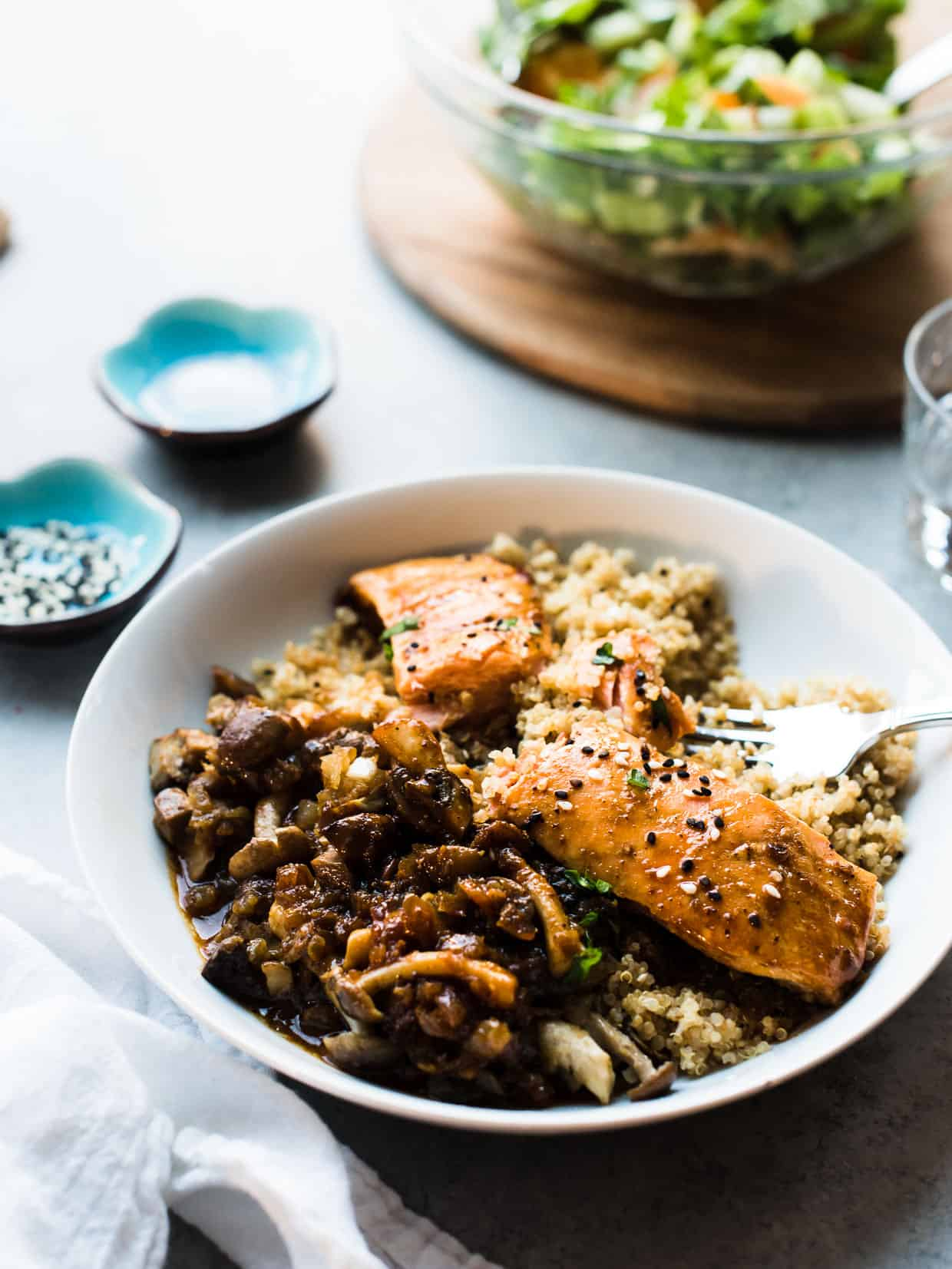 pan roasted salmon on bed of quinoa with mushrooms