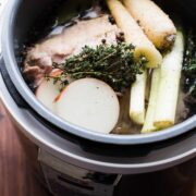 Save time and boost flavor and make soup stock in a pressure cooker! This method for pressure cooker soup stock works for homemade chicken, turkey, beef and ham stock! Make homemade soup stock in about 30 minutes!