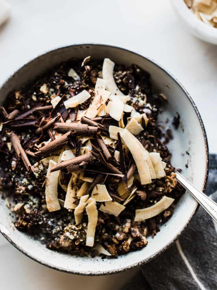 Mocha Oatmeal Bowls with coconut and dark chocolate!