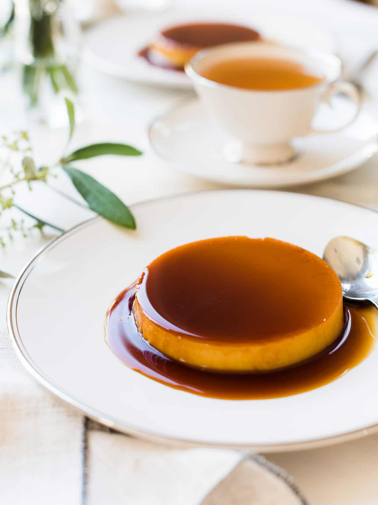 Coconut Leche Flan on a serving dish.