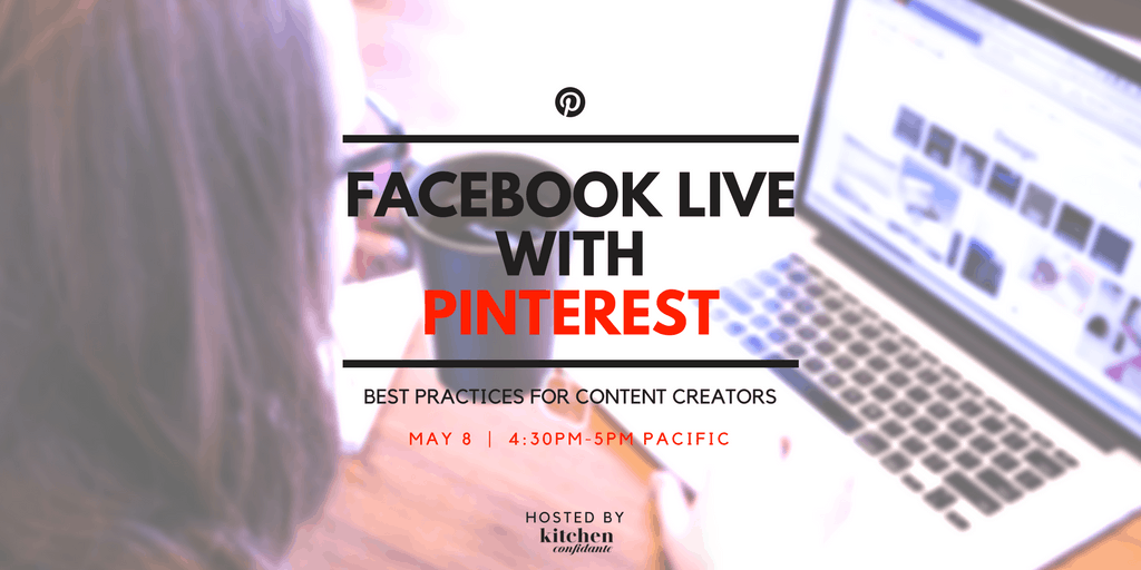 Got burning Pinterest questions? I'm hosting a Facebook Live with @Pinterest - we'll be streaming live on Tuesday May 8, 4:30-5pm Pacific from Pinterest HQ - join us to learn best practices for content creators, and bring your questions!