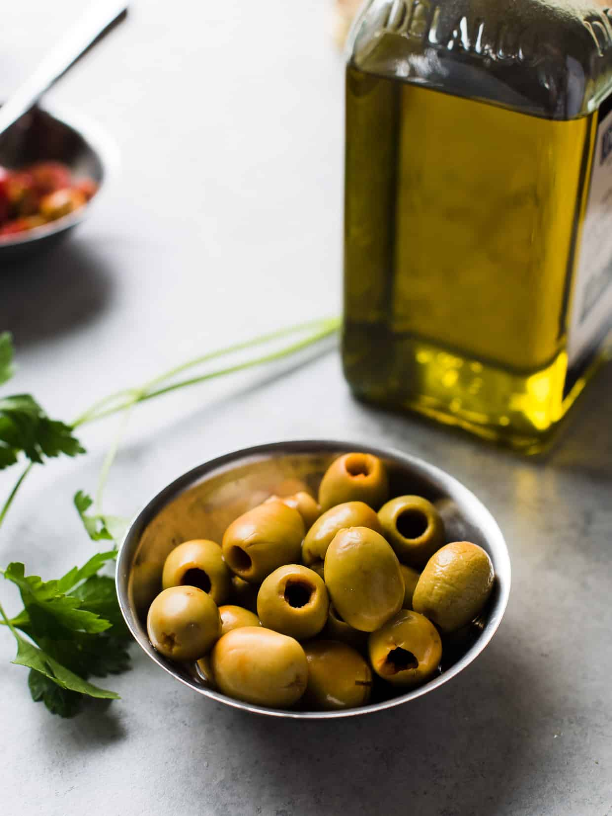 Spanish olives for Baked Halibut with Olives and Tomatoes.