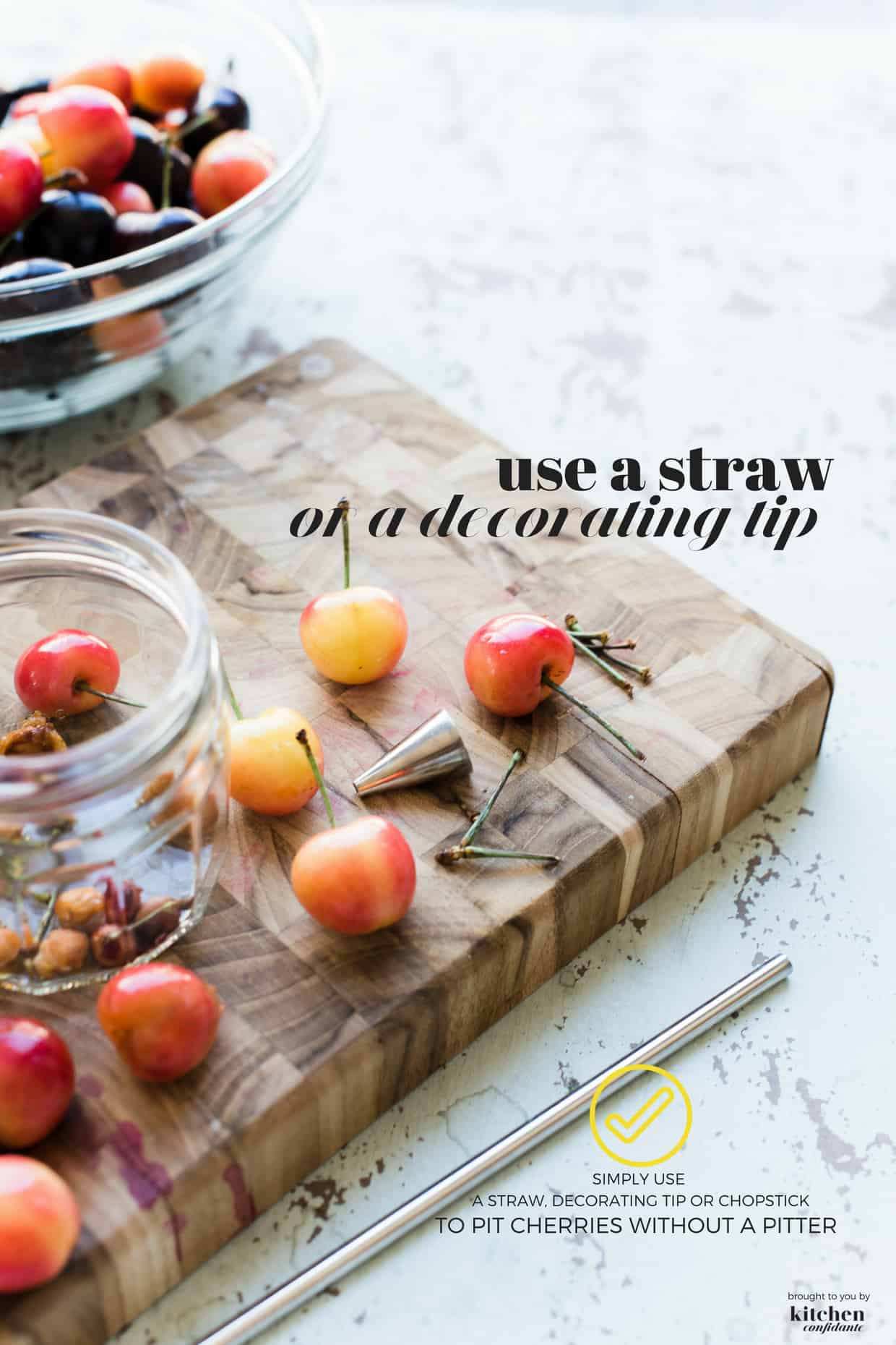 how to pit cherries without a cherry pitter using a straw or decorating tip!