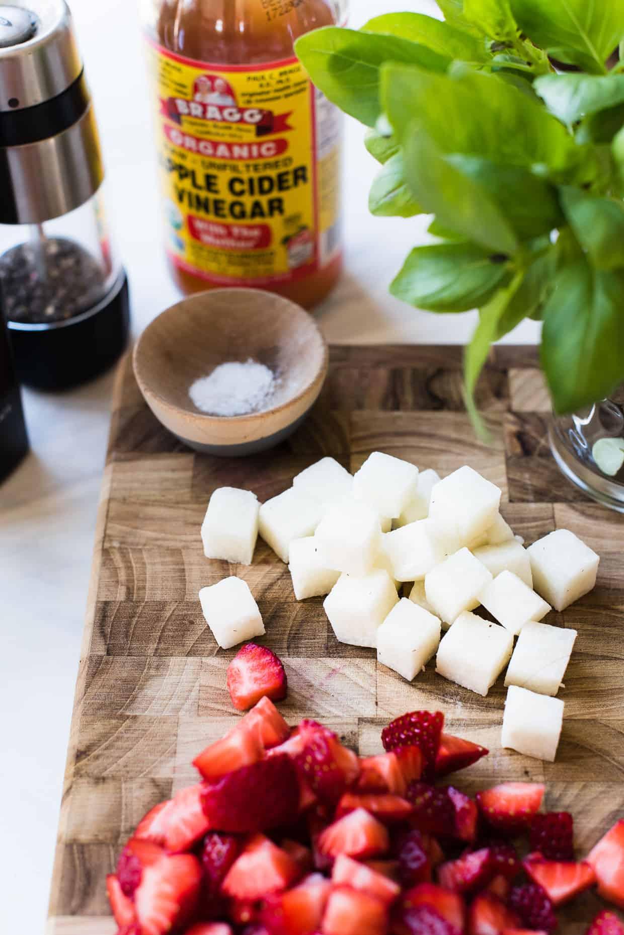 Chopped jicama for Red White and Blue Berry Jicama Salad