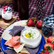 Red white and blue picnic ideas, with chips, dip, berries dessert