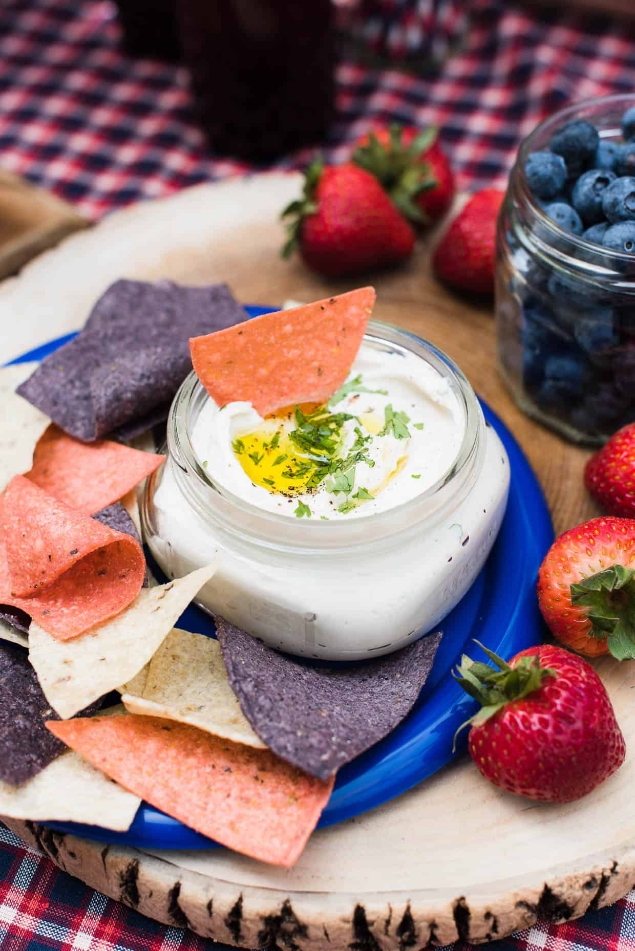 Red white and blue chips and dip for a Red White and Blue Picnic