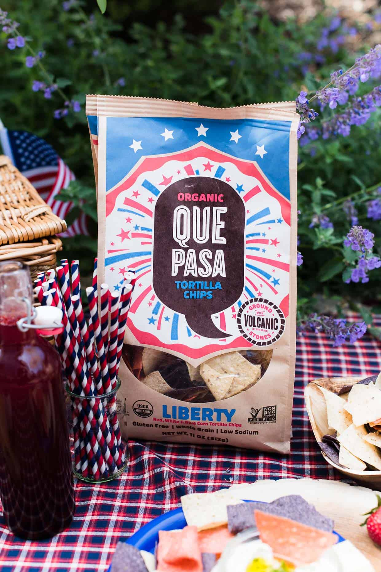 Bag of Que Pasa Liberty Chips for a Red White and Blue Picnic.
