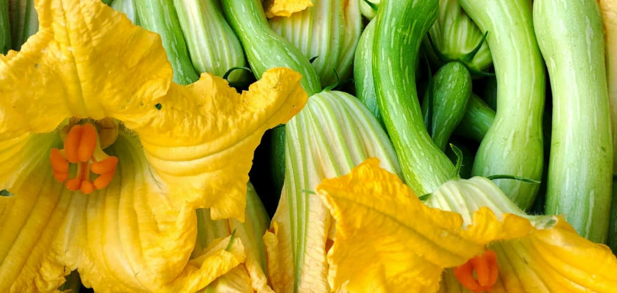 Zucchini blossoms in market in Nice, France.