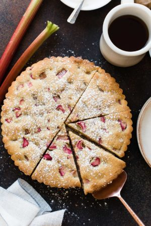 Rhubarb Frangipane Cake sliced.