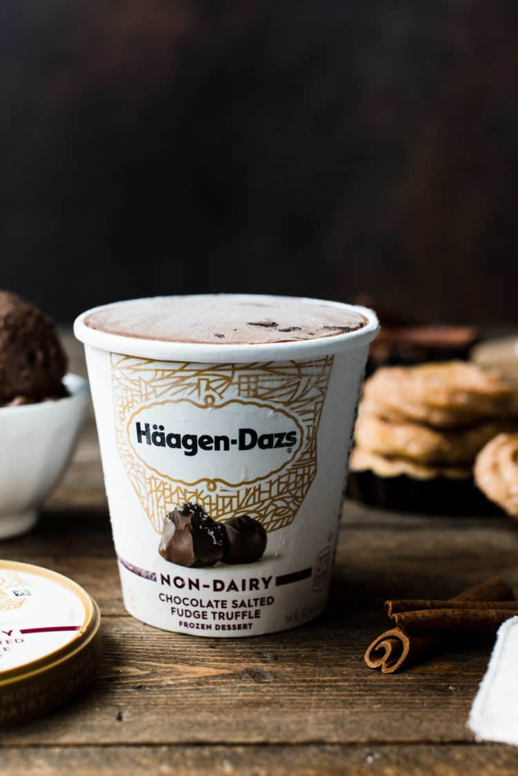 Häagen-Dazs Non-Dairy Chocolate Salted Fudge Truffle Ice Cream for Baked Churro Ice Cream Sandwiches.