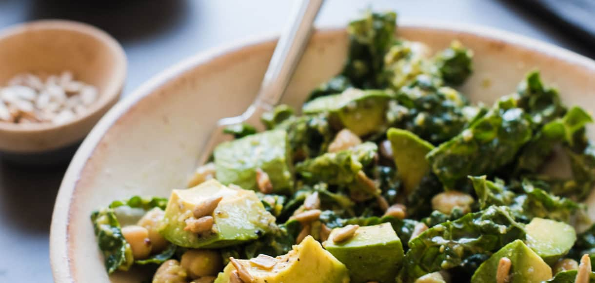 Lemony Kale Avocado and Chickpea Salad in a bowl.