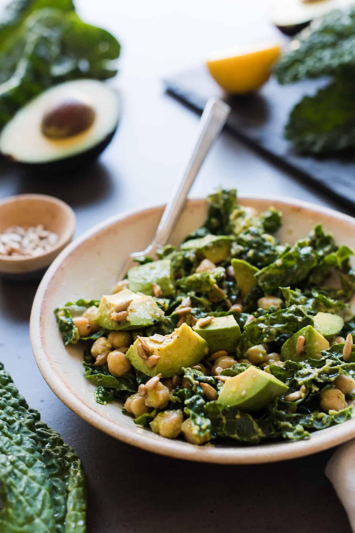 Lemony Kale Avocado And Chickpea Salad