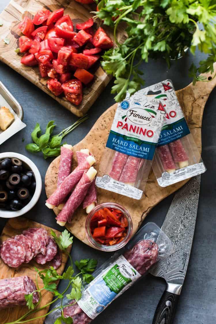 Fiorucci Foods Hard Salami-Mozzarella Paninos for Muffuletta Panzanella