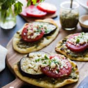 Roasted Eggplant, Tomato & Pesto Mini Naan are one of Five Little Things I loved the week of September 7, 2018.