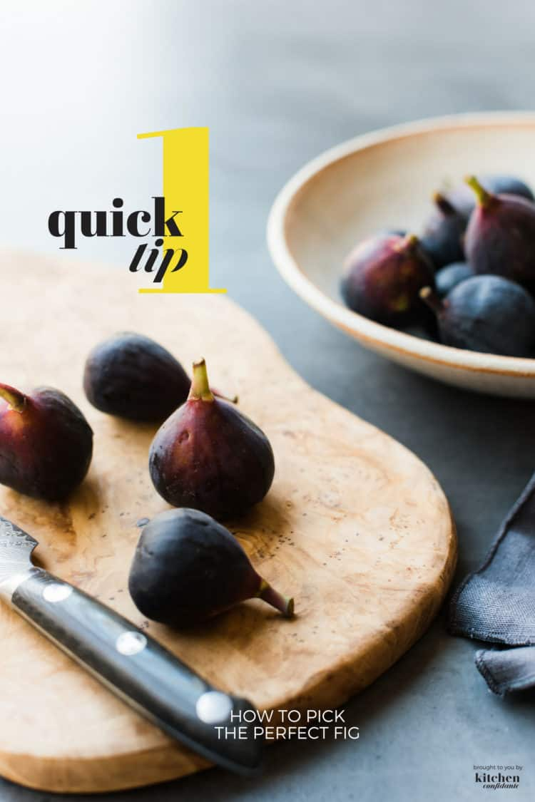 Black Mission Figs on a cutting board and How to Pick the Perfect Fig