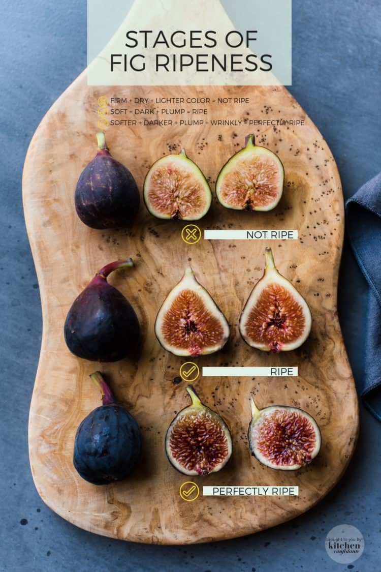 A cutting board with figs of varying ripeness to show How to Pick the Perfect Fig with One Quick Tip