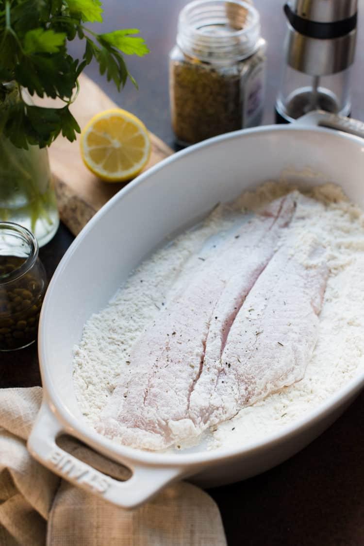 Petrale Sole for Sole Meuniere dredged in flour, salt, pepper and Herbes de Provence.
